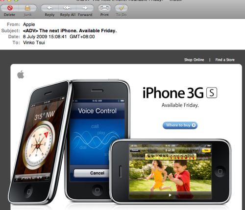 Marketing Email from Apple Asia