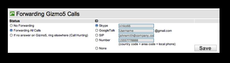 Gizmo5 forward to Skype