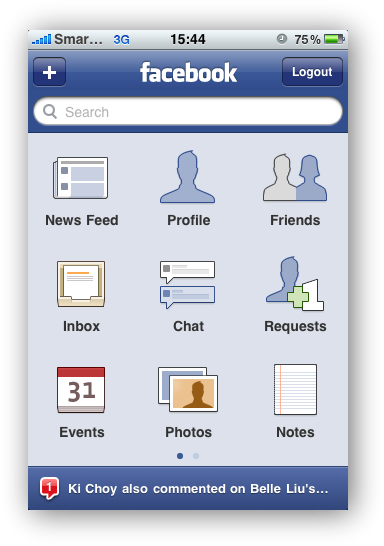 Facebook - Home Screen