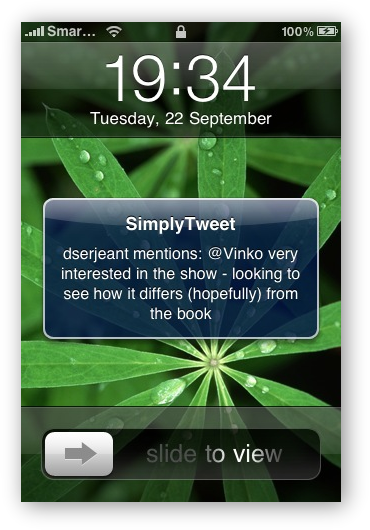 SimplyTweet -  Push-notification