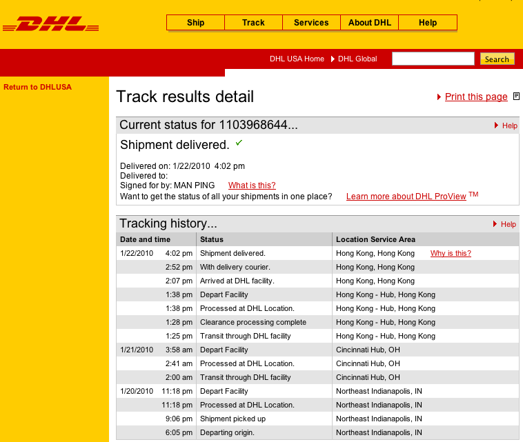 dhl with delivery courier